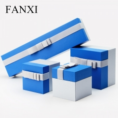 FANXI Elegent Custom Logo Blue Color Leatherette Paper Jewel...