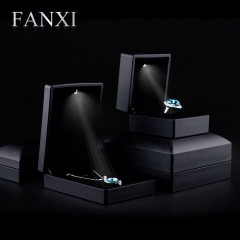 FANXI Luxury Black Color Wedding Jewelry Box With Velvet Ins...