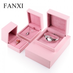 FANXI Custom Vintage Pink leatherette Paper Gift Boxes Stora...