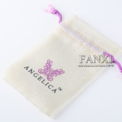 FANXI Custom Logo High Quality Linen Fabric Jewelry Packing Bag Jewelry Pouch