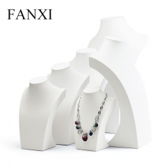 FANXI Custom Wooden Jewelry Display Bust Neck Form White PU ...
