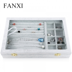 FANXI Wholesale Custom Factory MDF With Gray Velvet Jeweller...