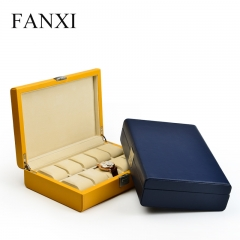 FANXI Custom Luxury Wooden Jewelry Cases Wrapped With Yellow...