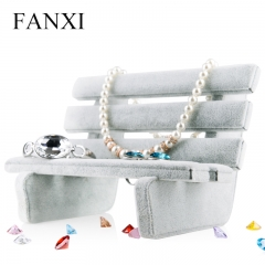 FANXI China Supplier Exquisite Gray Velvet Park Chair Jewell...