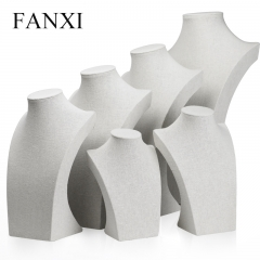 FANXI China Supplier Tall Jewelry Display Neck Stands Wood L...