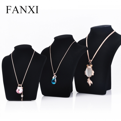FANXI Factory Custom Jewellery Display MDF Wood And Black Velvet Necklace Display Mannequin Bust