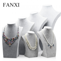 FANXI wholesale custom silver gray Ice velvet wooden jewelry...