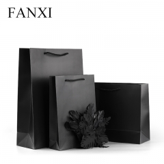 FANXI factory wholesale custom famous brand black paper bag ...