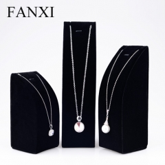 FANXI factory custom logo black velvet necklace display stan...