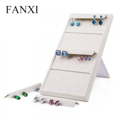 FANXI factory custom logo linen jewelry earring display stan...