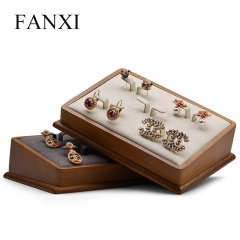 wooden jewelry earring display stand tray