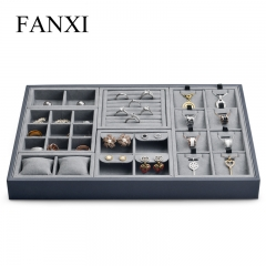 stakable leather jewellery organizer display tray