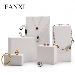 Luxury white jewelry display stand set for ring necklace ear...