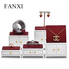 Luxury white jewelry display stand set for ring earring pend...