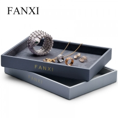 leather jewelry display tray with microfiber inside for ring...