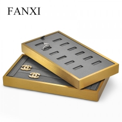 Luxury metal jewelry ring display stand tray earring display...