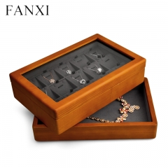 custom wooden jewelry organizer box with window