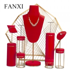 luxury metal red jewellery window display stand set