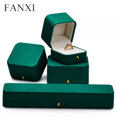 wholesale green leather jewelry packaging boxes for ring ear...