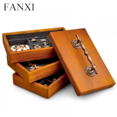 custom wooden jewelry organizer box with handle