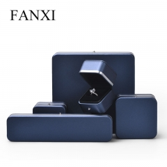 High-end navy blue leather jewelry gift box for ring earring...