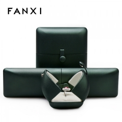 wholesale green leather jewelry packaging gift boxes