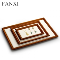 Stackable wooden jewellery display tray with microfiber