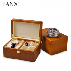 Vintage wood jewelry organizer gift box for bangle ring pend...