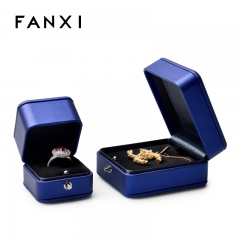 Blue leather jewelry packaging box with black velvet inside ...