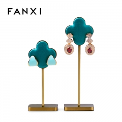 Luxurious metal frame peacock blue earring jewelry display h...