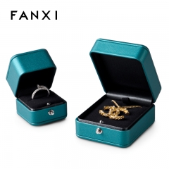 Peacock blue leather jewellery packaging box for pendant rin...