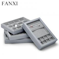 Gray leather stackable jewellery organizer display tray box ...