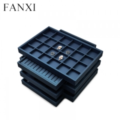 Leather jewellery organizer display tray for ring pendant ea...