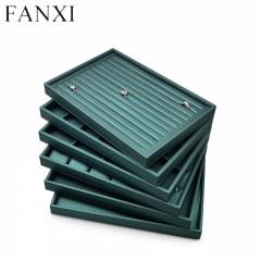 Dark green leather jewelry organizer display tray for ring p...