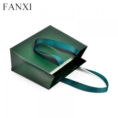 Green jewellery paper gift bags personalized