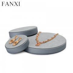 Gray leather microfiber jewelry display tray for ring earrin...