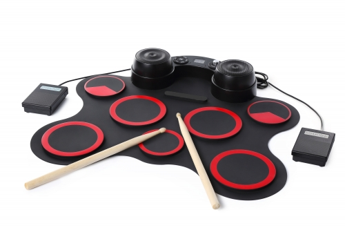 Top-Longer Digital Electronic Drum,Built in Speaker 7 Pads Portable Electronic Roll up Drum Pad kits Foldable Practice Instrument