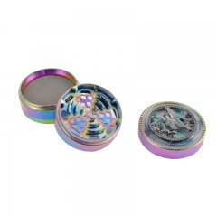 colorful 4 part Emboss herb grinder