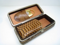 brown leather cigar box