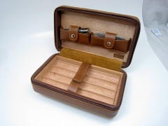 black/brown leather cigar box