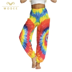 Women yoga clothing tie-dye printed dance harem pants yoga pants