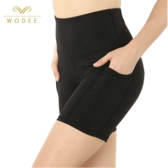 Black Plain Polyester Women Blank Running Yoga Sports Shorts with Pocket