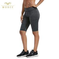 Black Grey Knee Length Female Booty Women Sports Tight Shorts with Pocket