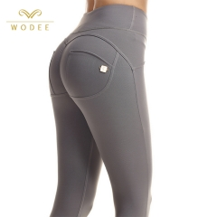 Leggings deportivos con botones personalizados levantador de cintura alta push up bottom leggings mujer gym capris