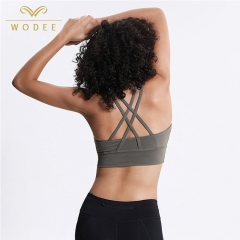 Padded gym bra tops cross back adults women pushup sport bra top fitness