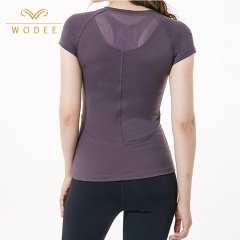 Workout clothing V neck gym tops quick dry slim fit t shirts women