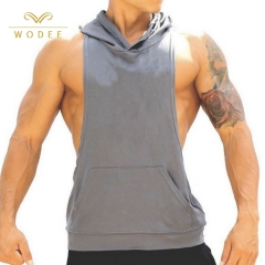 Custom logo 85% cotton men sports fitness gym tank top with hooded