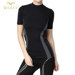 Custom logo high elasticity compression quick dry gym sports t shirt women