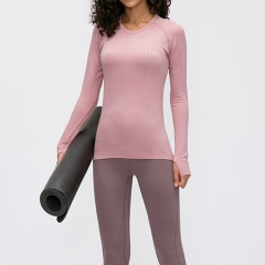 Blank yoga shirts seamless yoga wear long sleeve tops fitness wear women