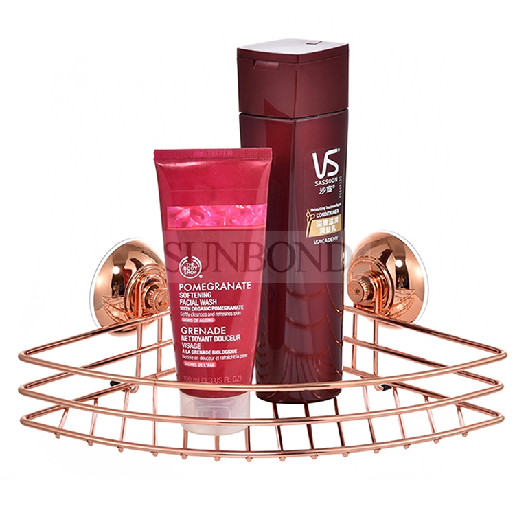 Suction cup rose gold shower caddy,Red copper plated sucker series